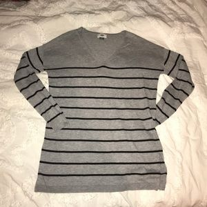 old navy gray and black striped sweater